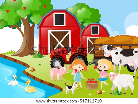 Two girls and farm animals by the river illustration