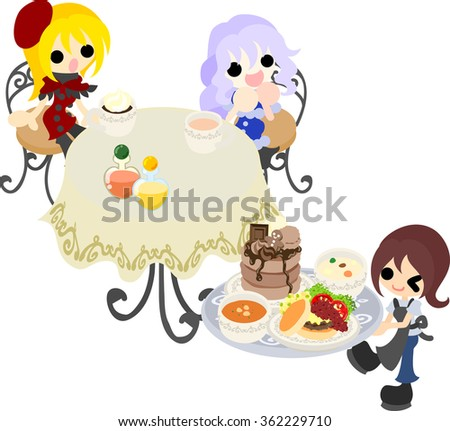 Two girls are pleased with the pancakes which they were waiting - stock vector
