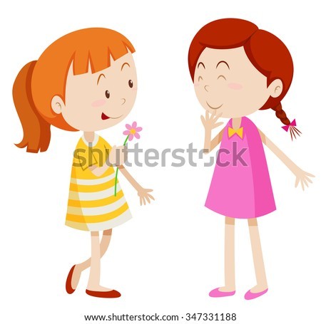 Two girls chatting with each other illustration