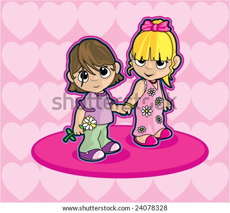 Two Girls Holding Hands - stock vector