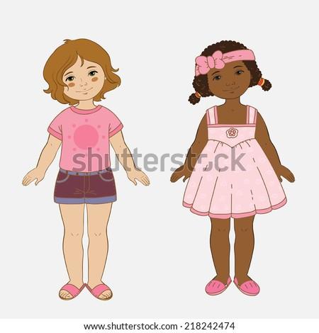 Two girls in summer dress - stock vector