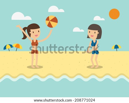 two girls play with a beach ball - stock vector