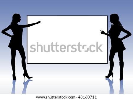 Two girls silhouette indicate a blank frame - stock vector
