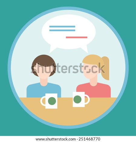 two girls talking to each other flat design concept - stock vector