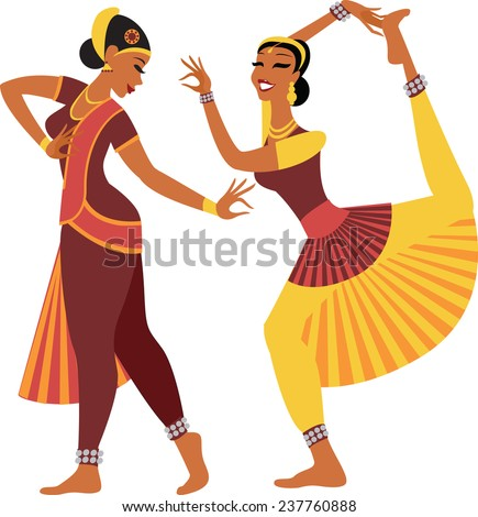 Two girls wearing traditional clothing dancing indian dance - stock vector