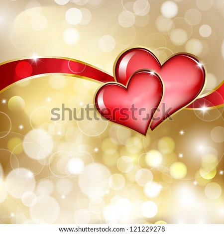 Two glass red hearts on golden background with bokeh - stock vector
