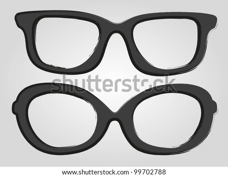 two glasses cartoon style, isolated on gray background - stock vector