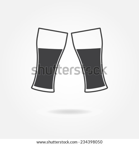 Two glasses isolated on white background. Cheers icon or sign. Vector illustration. - stock vector
