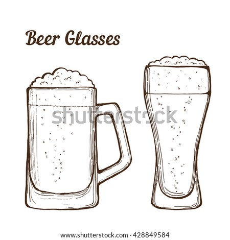 Two glasses of beer, hand-drawing. Vector.
