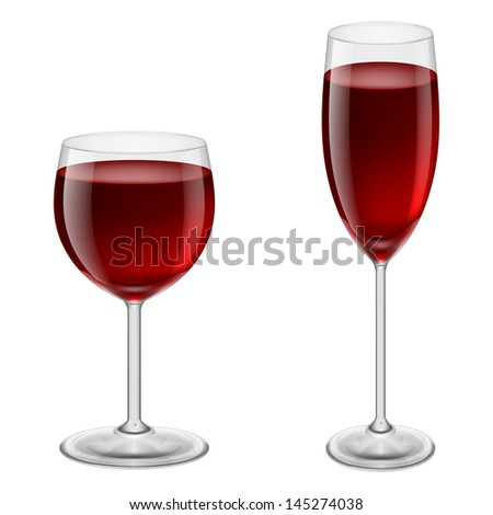 Two glasses of red wine. Illustration on white background for design - stock vector