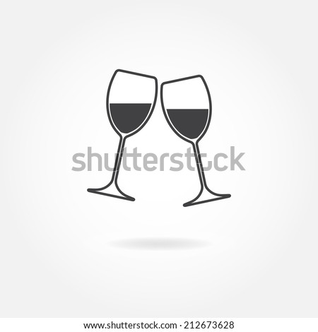 Two glasses of wine or champagne. Vector icon. - stock vector