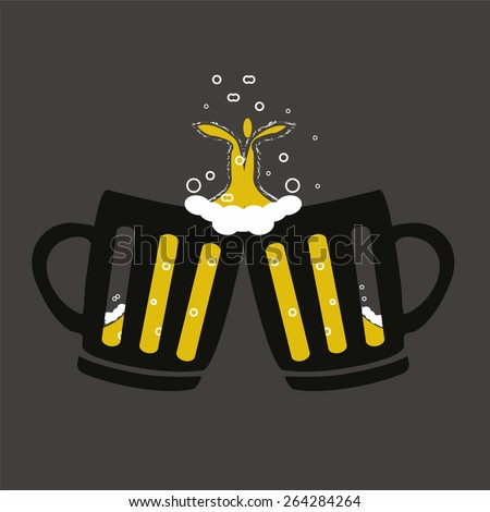 Two glasses or beer mugs isolated on white background. Cheers icon or sign. Vector illustration. - stock vector
