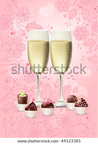 Two glasses with heart - stock vector