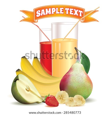 two glasses with juice and straw, bananas and slice of banana, pear with leaf and half of pear, ripe strawberry on a white background with a ribbon for inscription at the top