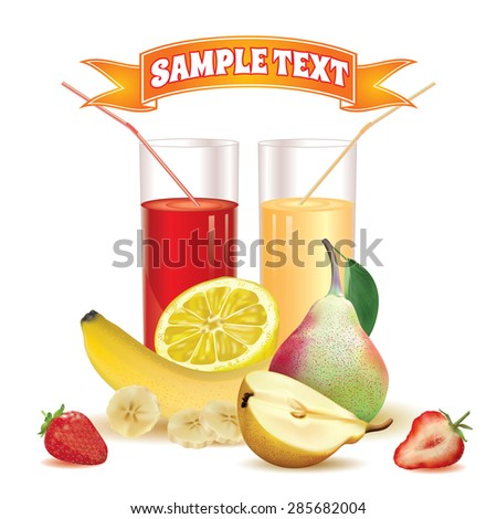 two glasses with juice and straw, slice of lemon, bananas and slice of banana, pear with leaf and half of pear, ripe strawberry and slice of strawberry on a white background - stock vector