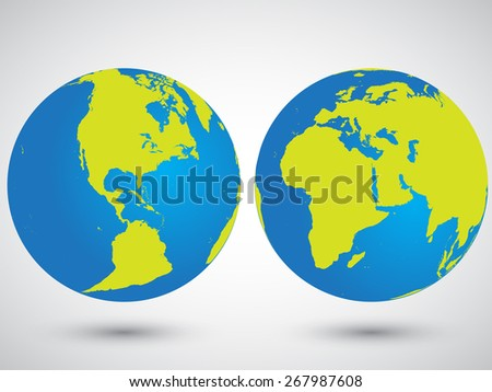 Two globes with America, Asia, Europa and Africa - stock vector