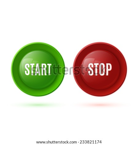 Two glossy buttons, start and stop. Vector illustration - stock vector