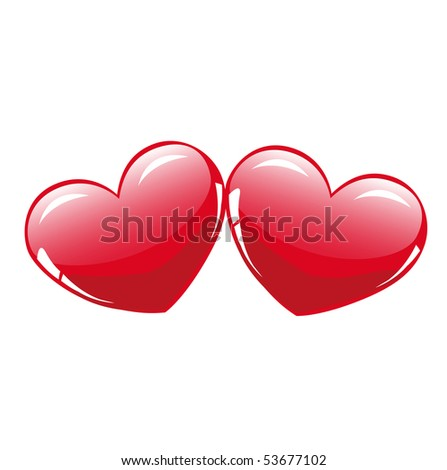 Two glossy hearts - stock vector