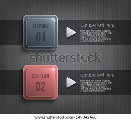 Two glossy plastic banners template over dark pattern background for business design, infographics, reports, progress, number options, step presentation or workflow layout. Clean and modern style - stock vector