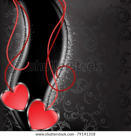 two glossy red heart with chains on a black background - stock vector