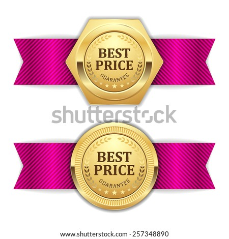 Two gold best price badge with purple ribbon on white background - stock vector