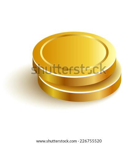 Two Gold Coins Vector Icon Eps Vector - stock vector