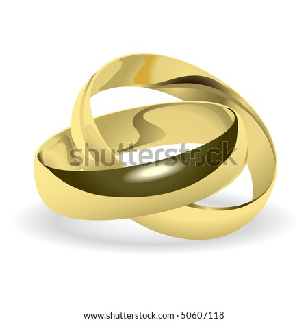 Two gold wedding rings. Vector. - stock vector