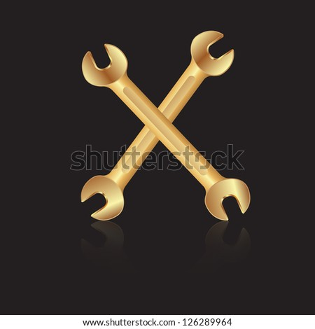 Two gold wrench tools icon. Vector illustration - stock vector