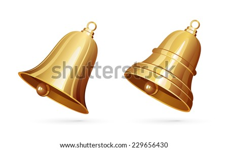 Two golden bells isolated on white background, illustration. - stock vector