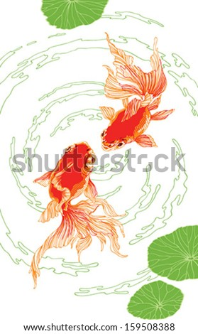 Two golden fish in the pond with leaves - stock vector