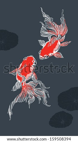 Two golden fish on dark background - stock vector
