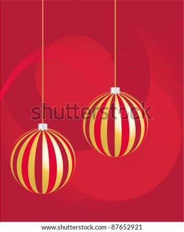 Two golden herringbone balls, Christmas background, vector - stock vector