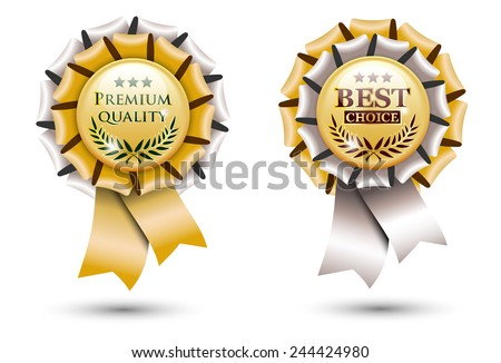 two golden ribbon rosettes, isolated on white background, vector illustration, eps 10 with transparency - stock vector