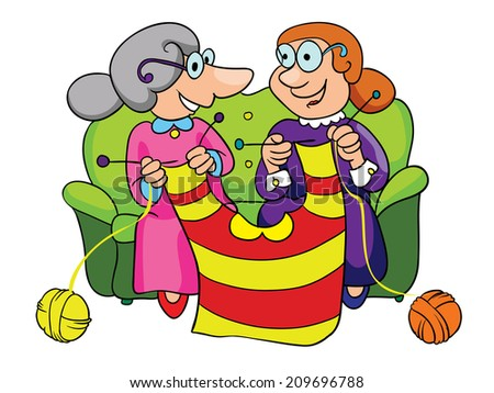 two grandmothers knit sweater, vector illustration on white background - stock vector
