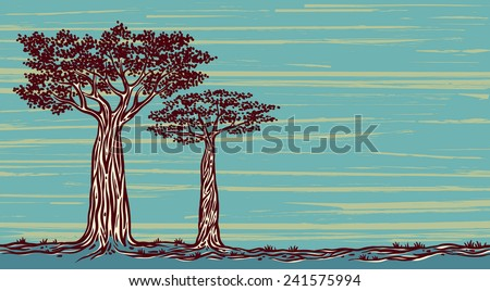 Two graphic baobabs on a blue background. Vector landscape of Madagascar. - stock vector