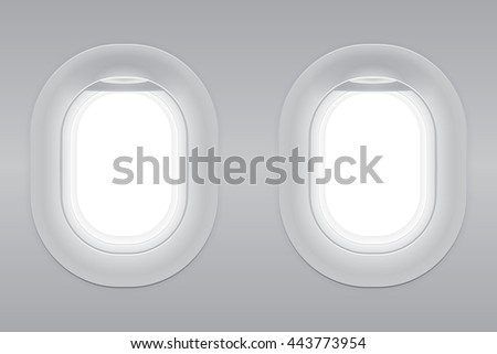 Two gray blank window plane, gray airplane window, gray light template, plain aircraft window white space. - stock vector