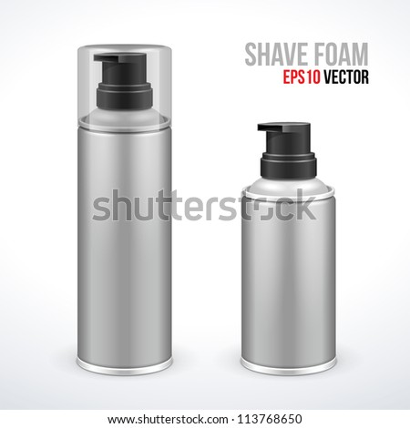 Two Gray Shave Foam Aerosol Spray Metal 3D Bottle Can. Ready For Your Design. Product Packing Vector EPS10 - stock vector