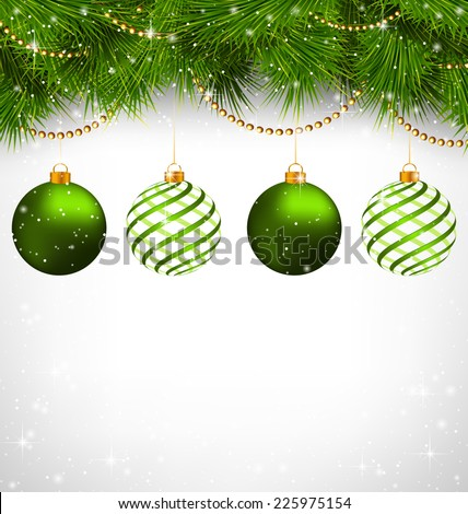 Two green and two spiral Christmas balls on green pine branches with chains on snowfall on grayscale background - stock vector