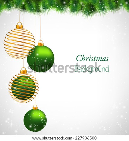 Two green and two spiral golden Christmas balls hanging on pine in snowfall on grayscale background - stock vector