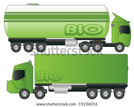 Two Green Biofuel Truck Tanker Transport Vector Drawing - stock vector