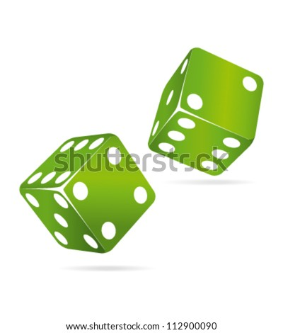 Two green rolling dices. Chance concept. - stock vector