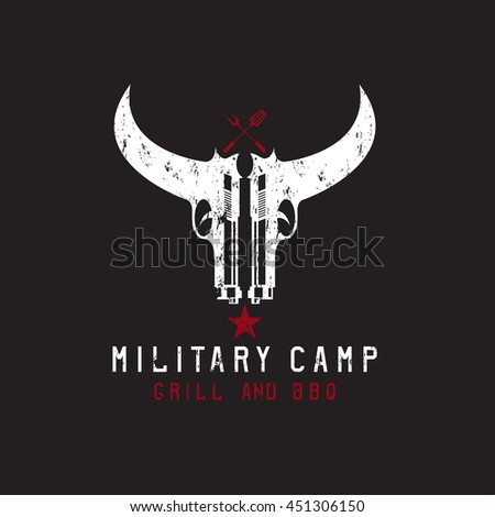 two guns in form of bull skull military bbq grunge concept - stock vector