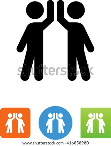 Two Guys Performing High 5 Icon Stock Vector 416858980 Shutterstock