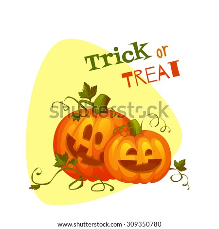 Two Halloween pumpkins with sweet smiles. Vector illustration - stock vector