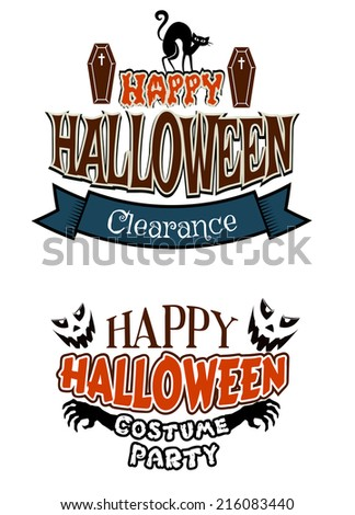 Two Halloween vector poster designs for a party and sale with text Happy Halloween, Clearance and Happy Halloween Costume Party with coffins, cats, skeletal hands and ghosts - stock vector