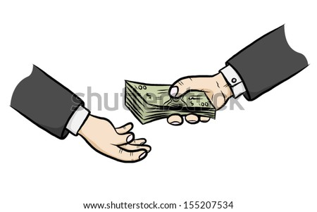 two hand and giving money / cartoon vector and illustration, isolated on white background. - stock vector