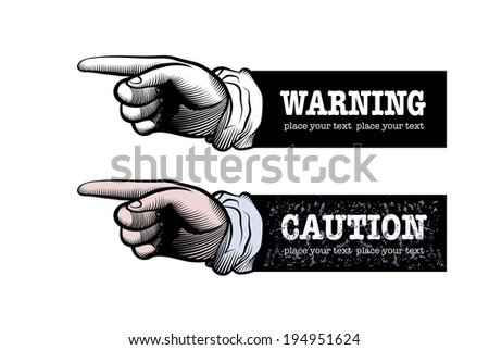 Two hand of the human. Pointing fingers. Vector drawing. - stock vector
