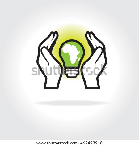 Two hands cupped around a glowing green light bulb with the continent of Africa. Isolated illustration concept for green energy