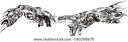 two hands drawn as  curly pattern - stock vector