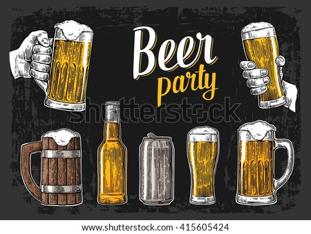 Two hands holding beer glasses mug. Glass, can, bottle. Vintage vector engraving illustration. Isolated on dark background. For bar poster,  invitation to party, web banner - stock vector
